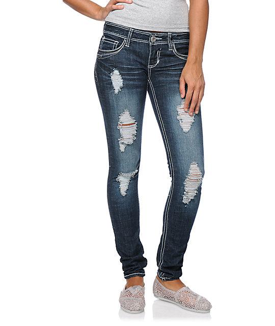 Hydraulic Loni Medium Blue Super Skinny Jeans