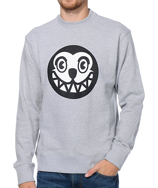 ICECREAM Dog Face Heather Grey Crew Neck Sweatshirt