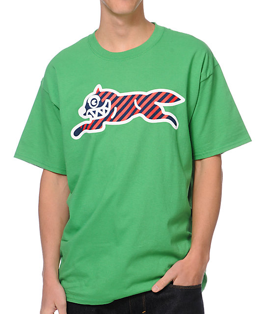 ICECREAM Striped Running Dog Kelly Green T-Shirt