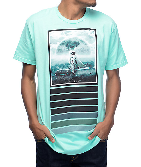 Imaginary foundation moon surfer pastel green t shirt zumiez for Pastel colored men s t shirts