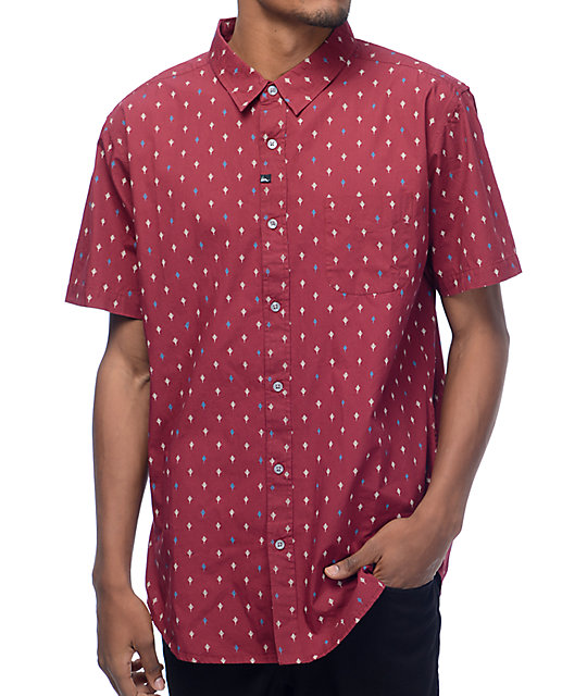 Imperial Motion Brush Woven Oxblood Shirt