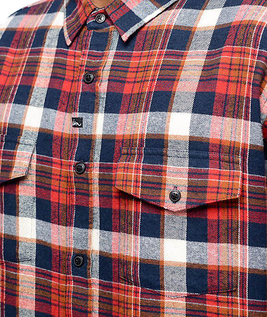 Imperial Motion Cushman White, Red & Navy Flannel Shirt