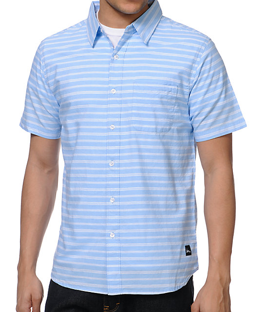 Imperial Motion Dill Light Blue Stripe Button Up Shirt