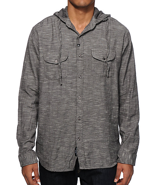 imperial motion ernest long sleeve hooded button up shirt
