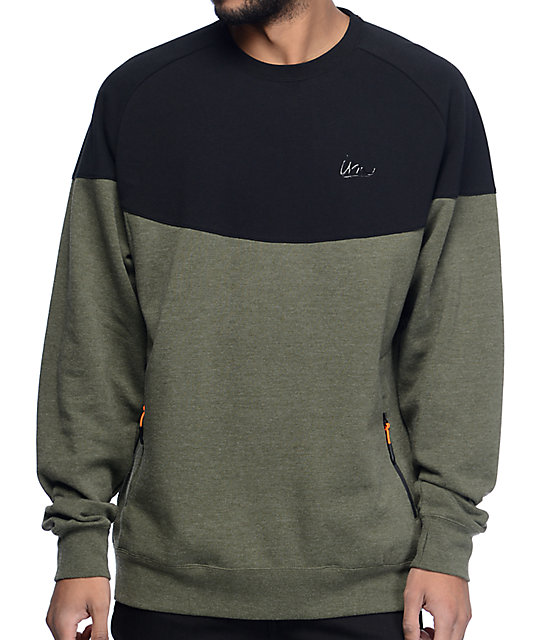 Imperial Motion Grade Black & Olive Crew Neck Sweatshirt at Zumiez ...