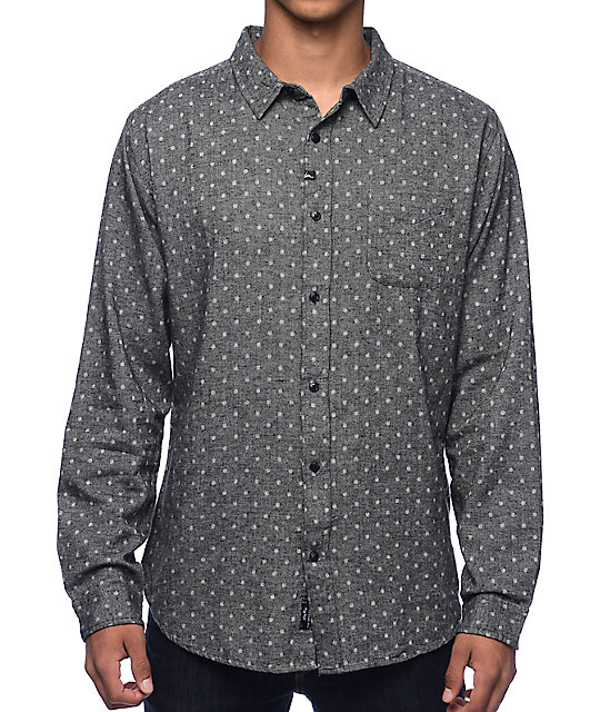 Imperial Motion Harris Black &  Grey Polka Dot Flannel Shirt