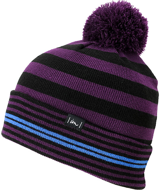 Imperial Motion Squeeze Purple & Black Pom Roll-Up Beanie
