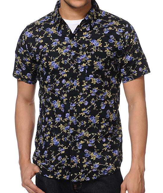 imperial wanderer black floral print button up shirt