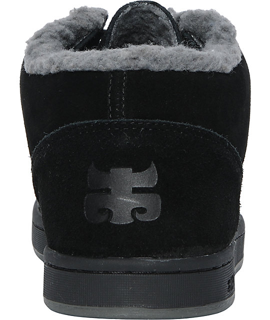 Ipath Cat Black & Charcoal Suede Shearling Skate Shoe