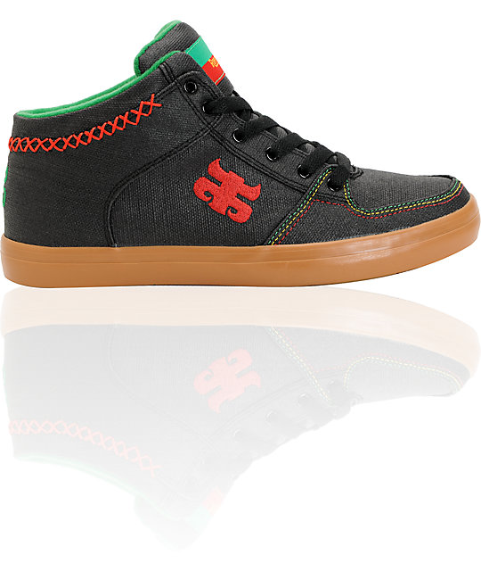 Ipath Reed Mid Black Waxed Rasta Hemp Skate Shoes