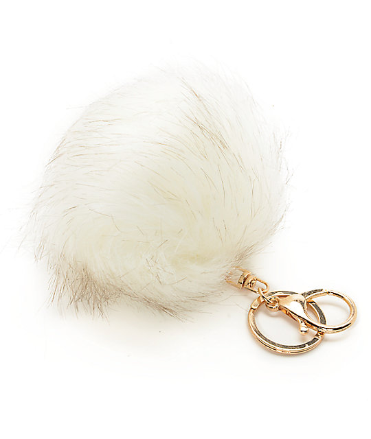 Ivory Fuzzy Bag Charm