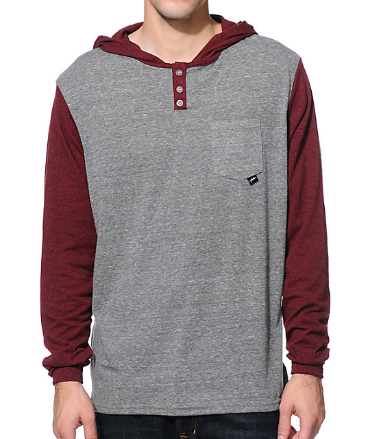 JSLV Tre Grey & Burgundy Long Sleeve Hooded Henley Shirt