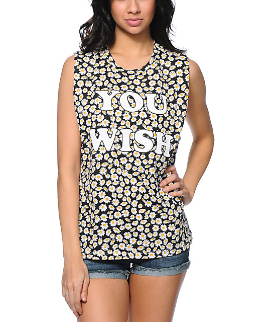 Jac Vanek You Wish Daisy Print Black Muscle Tank Top