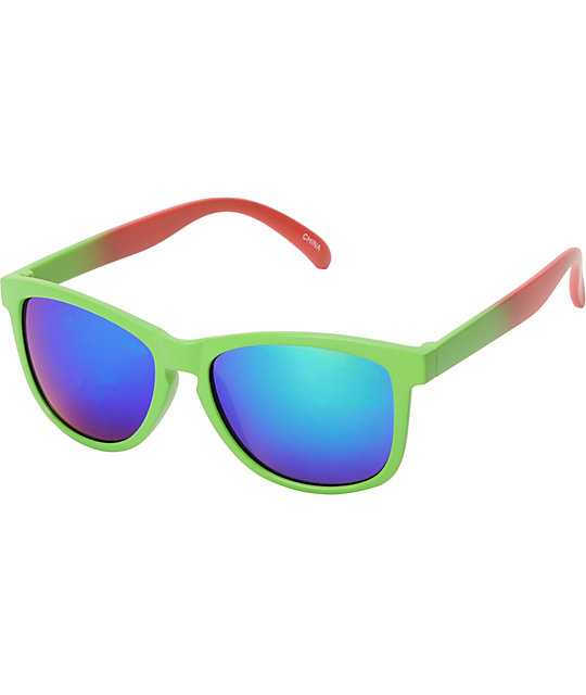 Jack Martin Motosurf Matte Green & Red Sunglasses