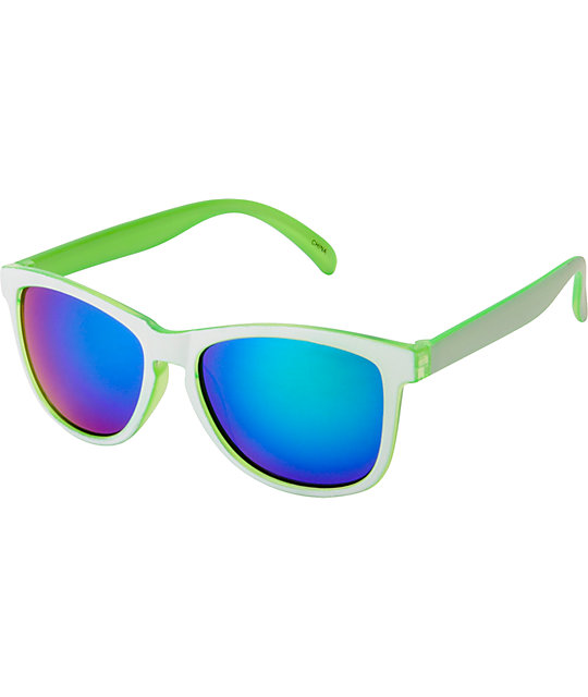 Jack Martin Motosurf White & Lime Sunglasses