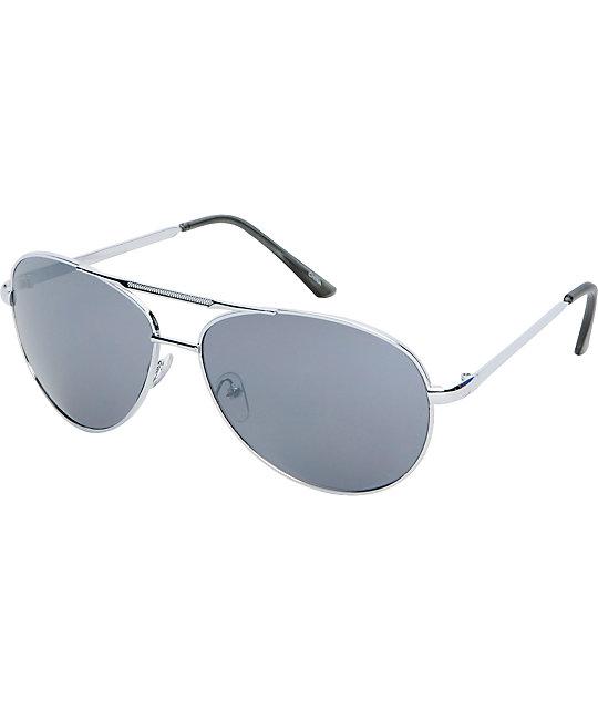 Jack Martin Team Ramrod Silver Aviator Sunglasses