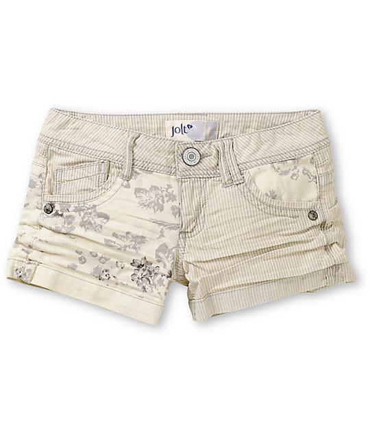 Jolt Jess Railroad Floral Mixing Denim Shorts