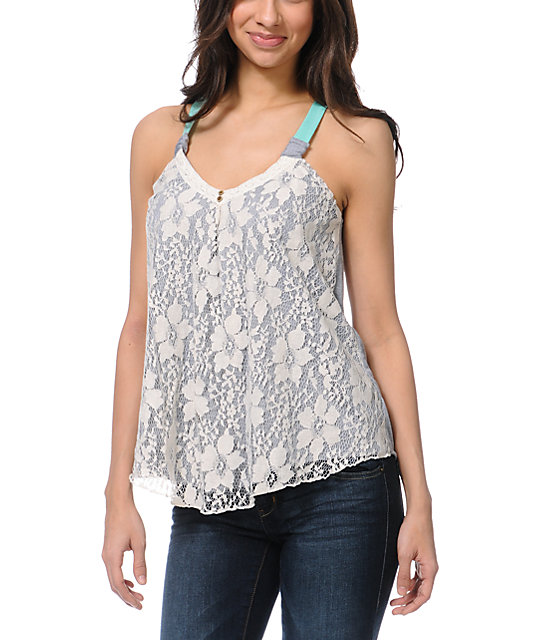 Jolt Lace Overlay Grey & Mint Tank Top