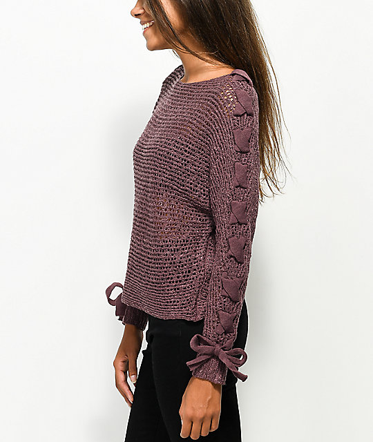 Jolt Loose Knit Lace Up Sleeve Purple Sweater