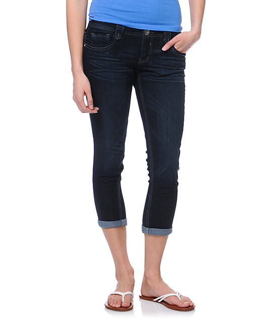 Jolt Marty Indigo Dark Wash Cropped Jeans