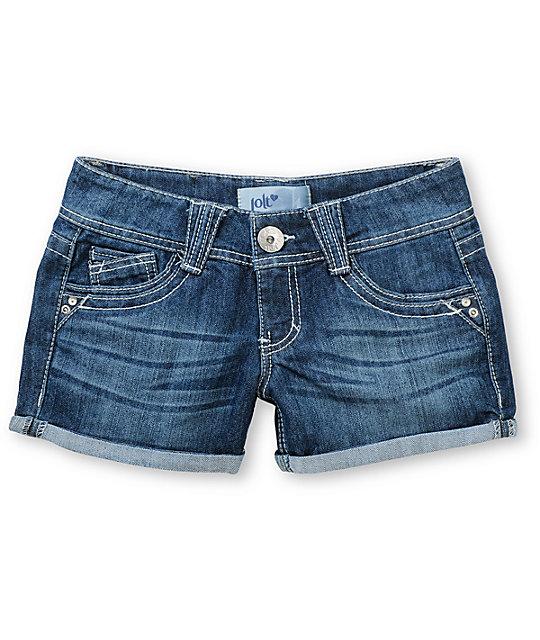 Jolt Ryan Check Pocket Indigo Denim Shorts