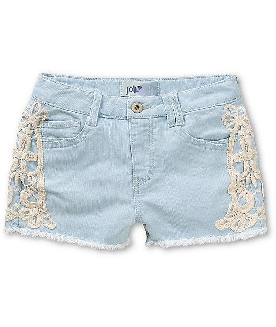 Sadie Crochet Side Light Wash Denim Shorts