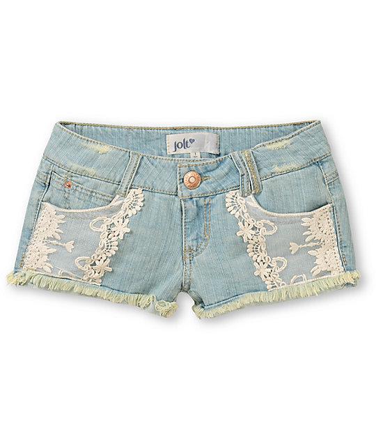 Jolt Sam Lace Pocket Cut-Off Denim Shorts