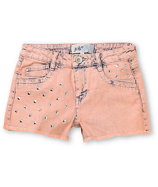 Jolt Tiffany High Waisted Acid Wash Stud Denim Shorts