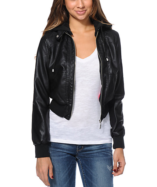 Jou Jou Black Faux Leather Bomber Jacket at Zumiez : PDP