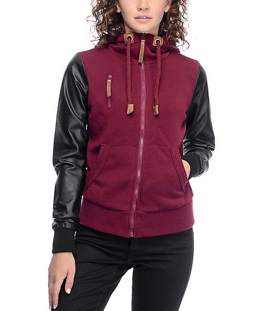 Jou Jou Cara Oxblood & Black Zip Up Hooded Jacket