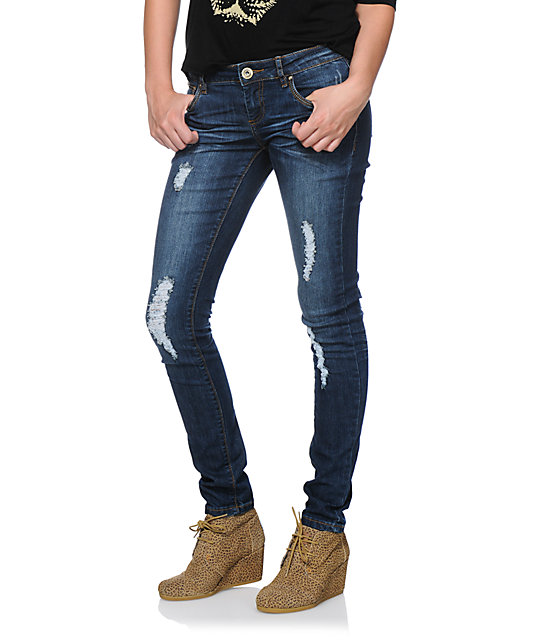 Jou Jou Dark Wash Destructed Skinny Jeans