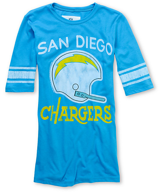 San Diego Chargers Dress: Junk Food NFL San Diego Chargers Turquoise Football T-Shirt