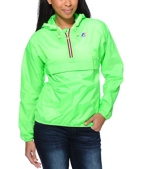 K-Way Noel Klassic Neon Green Pullover Windbreaker Jacket at ...