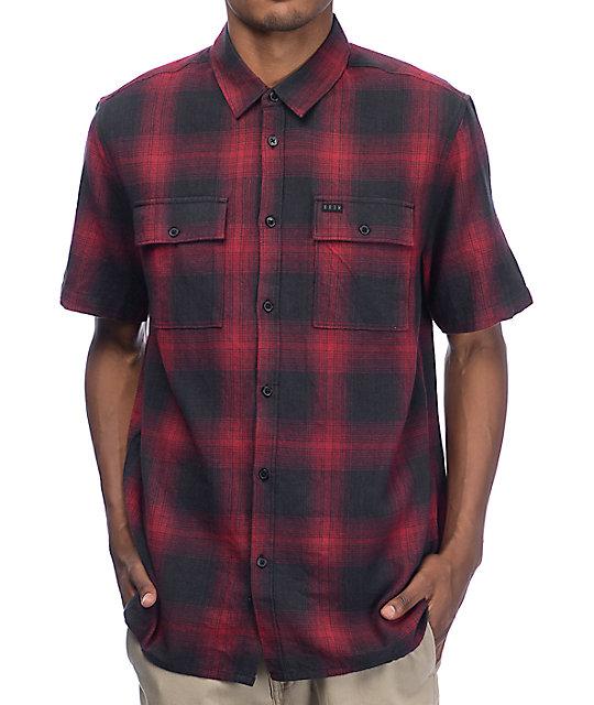 KR3W Adams Black & Red Short Sleeve Flannel Shirt