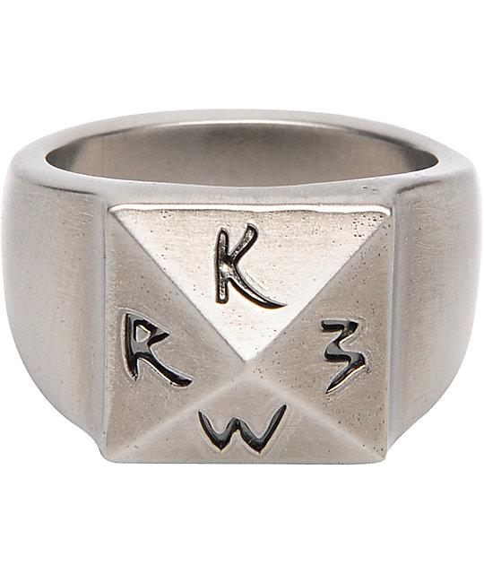 KR3W Antique Nickel Tarnished Mens Ring