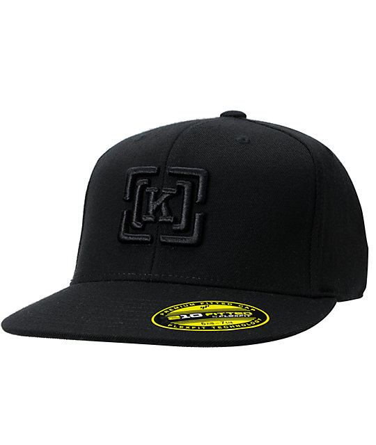 KR3W Black Brackets Black 210 FlexFit Hat