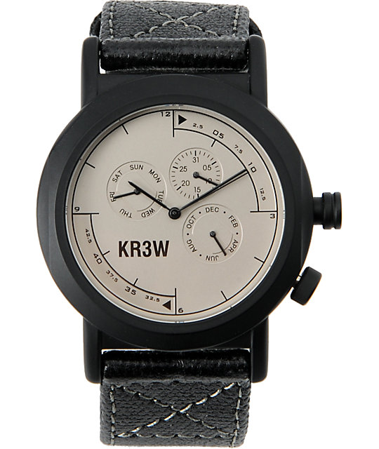 KR3W Black Navigator Waxed Canvas Chronograph Watch