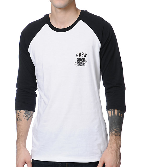 KR3W Bolt Squad Black & White Baseball T-Shirt