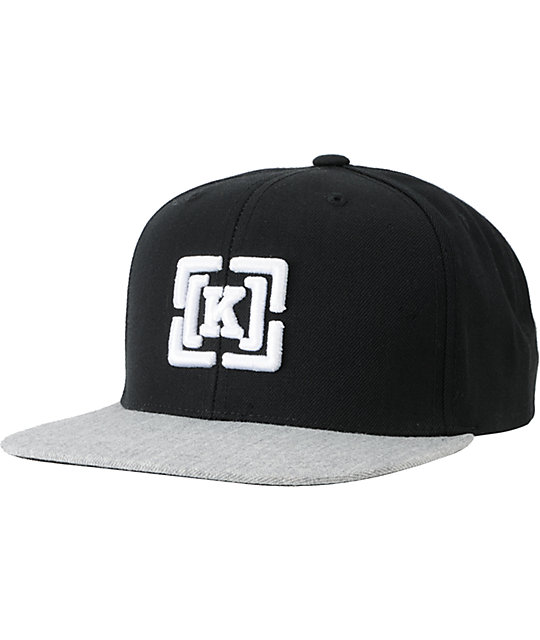 KR3W Brackets Starter Black & Heather Grey Snapback Hat
