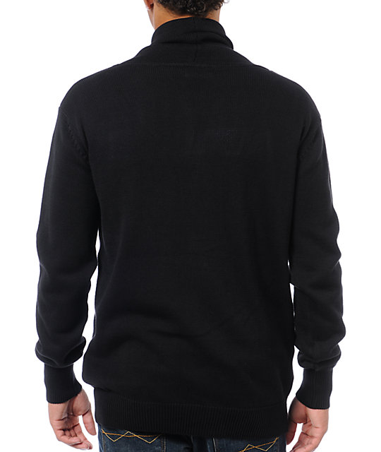 KR3W Breakdown Black Cardigan Sweater