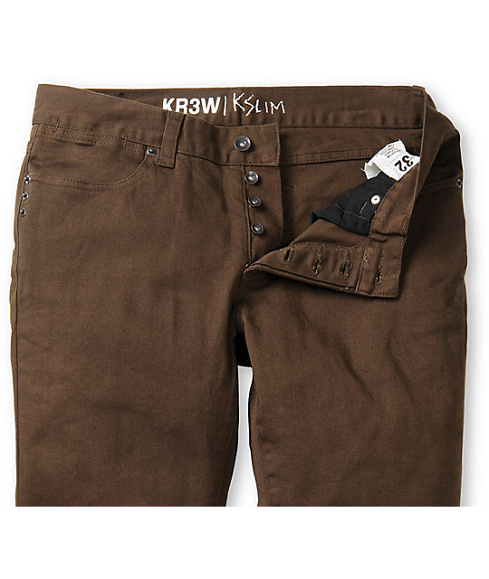 KR3W Chocolate Brown K Slim Jeans