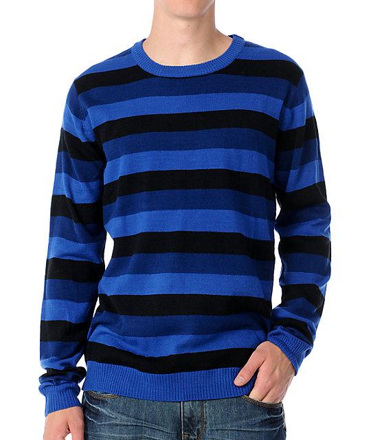 KR3W Douglas Blue & Black Mens Crew Neck Sweater