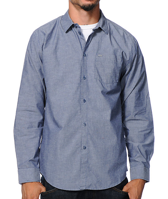 Fuego Blue Long Sleeve Button Up Shirt