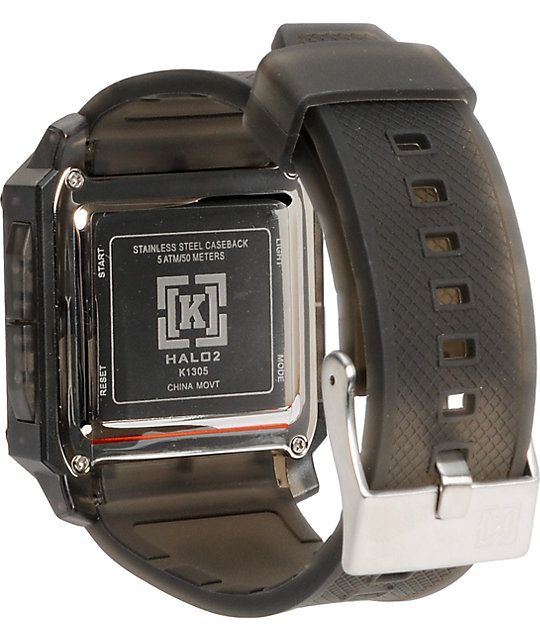 KR3W Halo 2 Clear Black Digital Watch