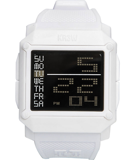 KR3W Halo White Digital Watch
