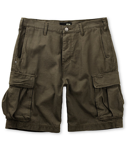 KR3W Highland Military Green Cargo Shorts