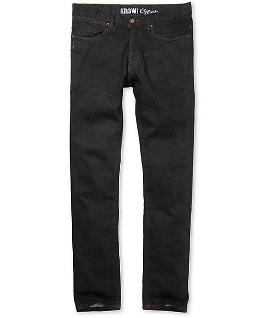 Black coated super skinny jeans