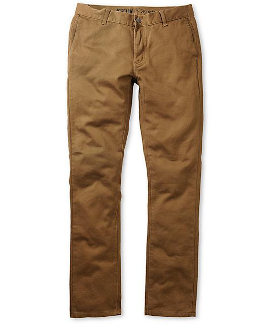 KR3W K-Skinny Coffee Chino Pants