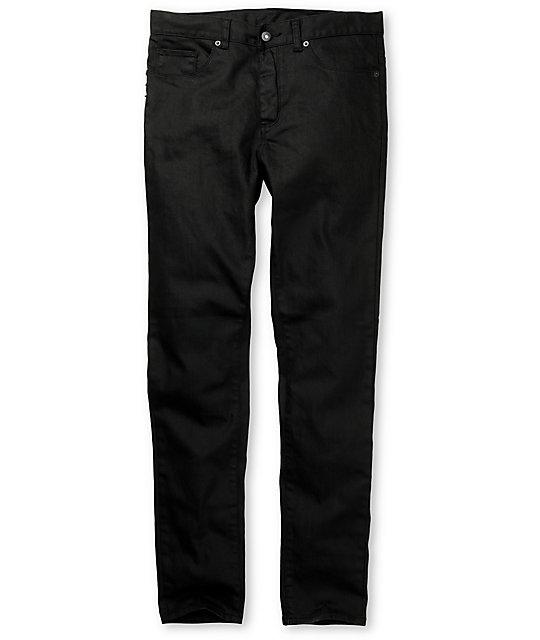 KR3W K-Skinny Waxed Black Super Skinny Jeans