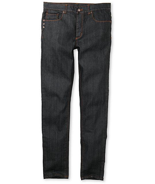 KR3W K-Skinny Waxed Blue Super Skinny Jeans